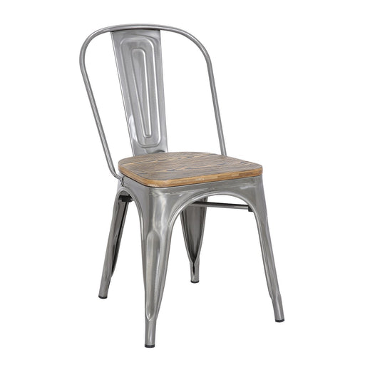 "Bistro Style Metal Chair 18"" in Polished Gun Metal Finish with Zebra Wood Seat ( SKU: BIC-10-80120-13-1403)"