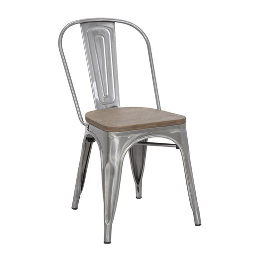 "Bistro Style Metal Chair 18"" in Polished Gun Metal  Finish with Dark Wood Seat ( SKU: BIC-10-80120-13-1407)"