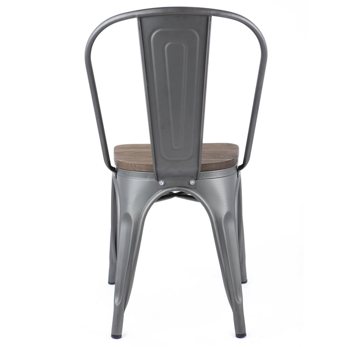 "Bistro Bistro Style Metal Chair 18"" in Gun Metal Finish with Wood Seat ( SKU: BIC-10-80120-30-1410)"