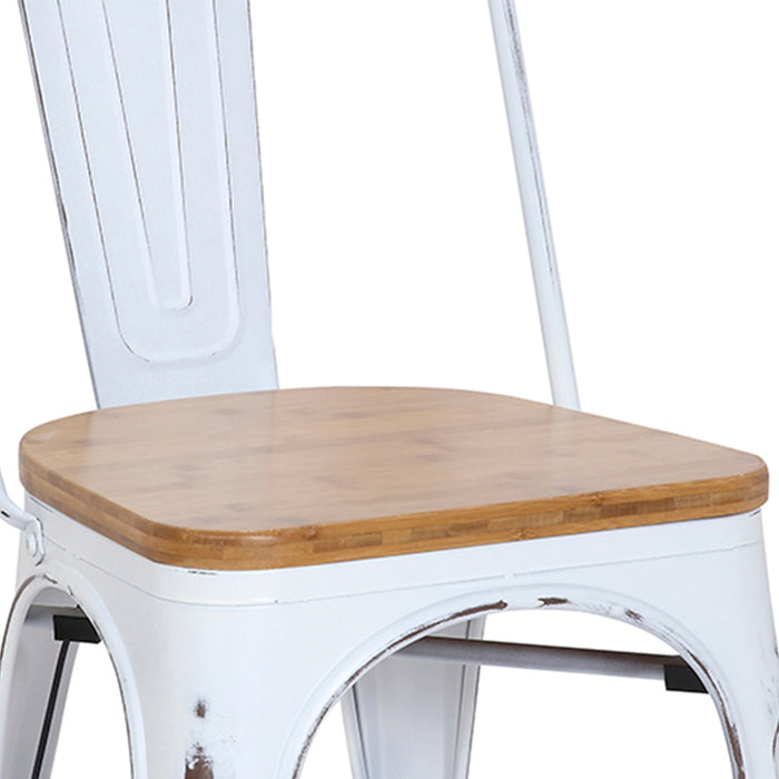 "Bistro Style Metal Chair 18"" in Distressed White Finish with Wood Seat ( SKU: BIC-10-80120-42-1401)"