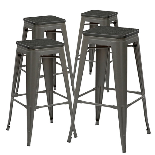 "Falcon 30"" Metal Bar Stools Backless Tolix Style - Gunmetal with Black Wooden Seat - Set of 4"
