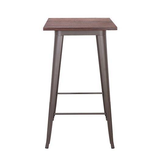 Farrah Industrial Bar Table In Antique Espresso finish with Dark Walnut Elm Wood (BIC-12-50100-50 )