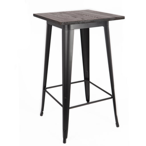 Farrah Industrial Bar Table in Matte Black Finish with Dark Walnut Elm Wood (BIC-12-50100-80 )