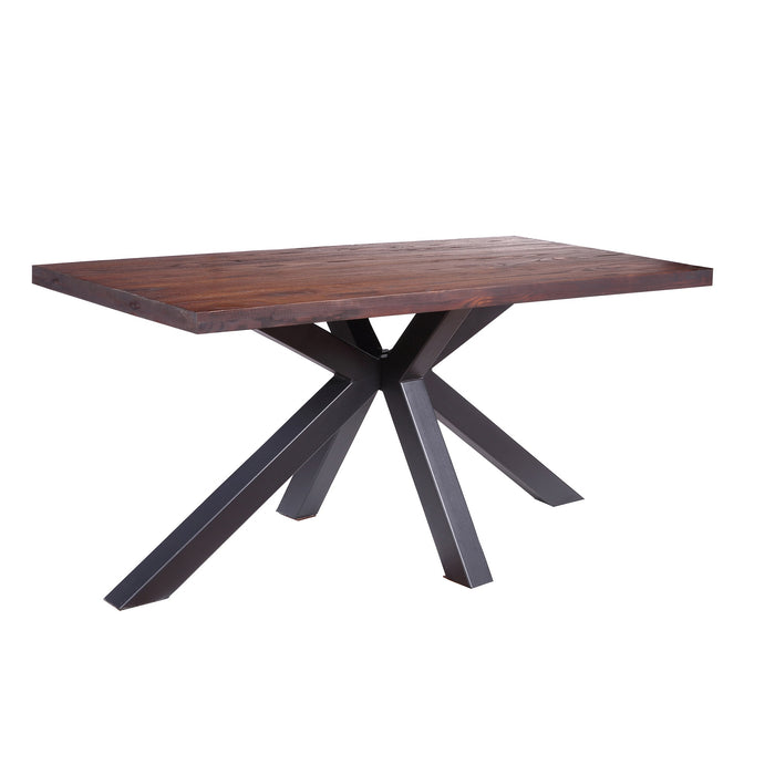 Robin Metal Dining Table with Wooden Top and Matte Black Legs