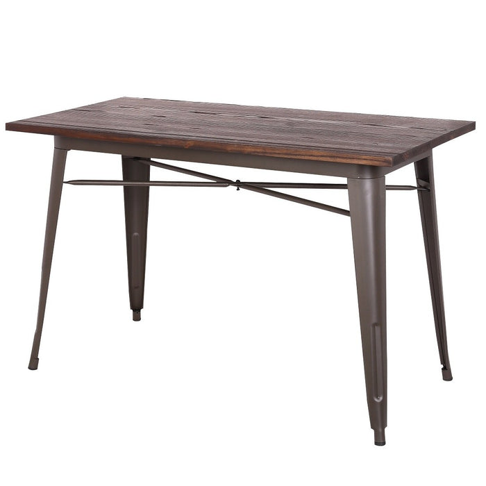 Forrest Dining Table with Wooden Top and Antique Espresso Legs