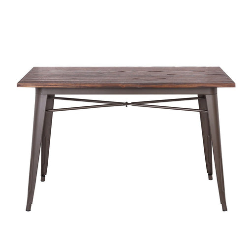 Forrest Industrial Dining Table In Antique Espresso finish with Dark Walnut Elm Wood ( SKU : BIC-12-50125-50 )