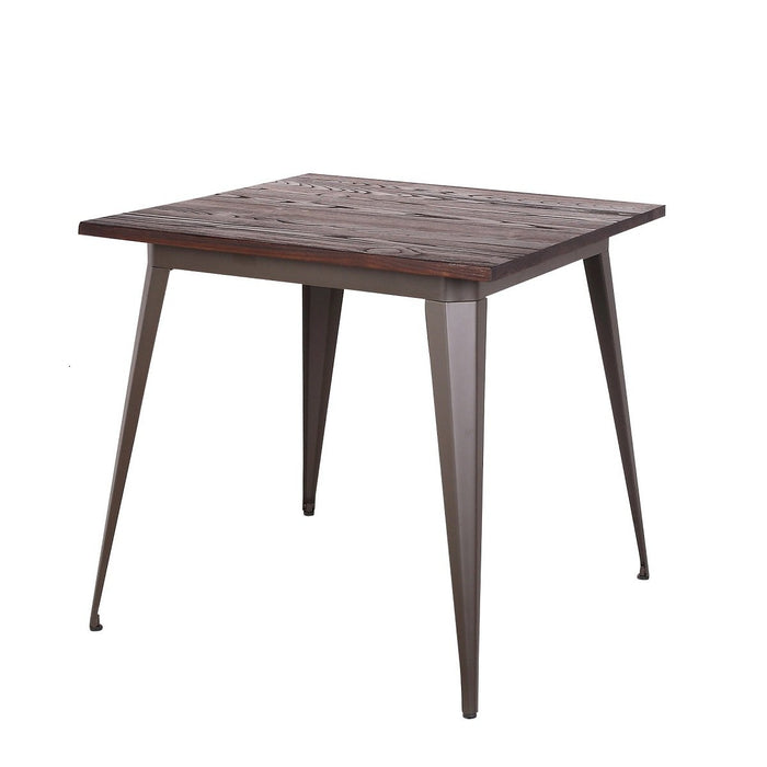 Crate Industrial Square Dining Table In Antique Espresso finish with Dark Walnut Elm Wood (BIC-12-50132-50 )