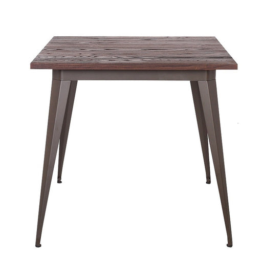 Crate Dining Table with Wooden Top and Antique Espresso Legs