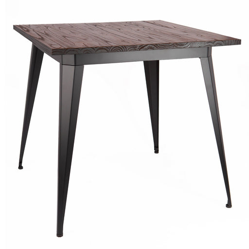 Crate Industrial Square Dining Table in Matte Black Finish with Dark Walnut Elm Wood (BIC-12-50132-80 )