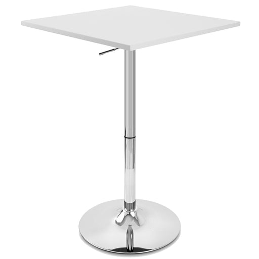 Costa Bar Table with Adjustable Height and Pedestal Base (White) - 1 Unit