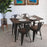 Forrest Dining Table with Wooden Top and Matte Black Legs