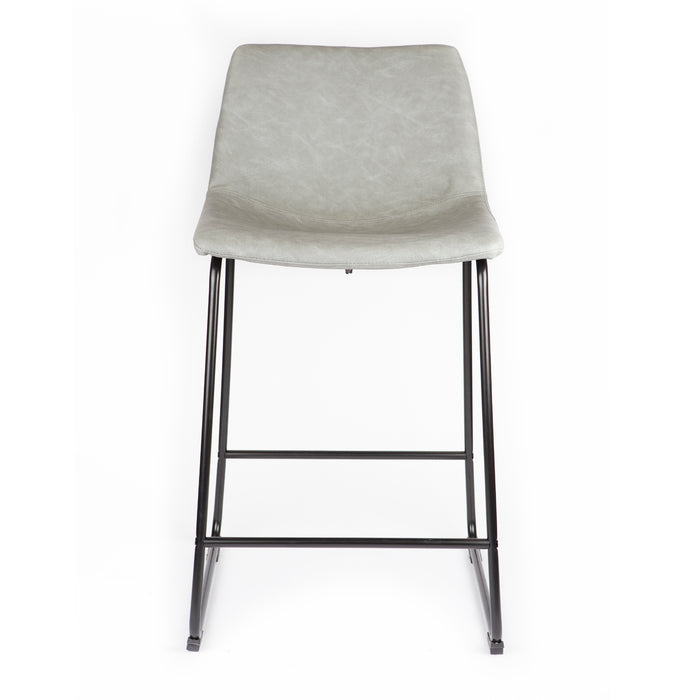 "Cleo Leatherette 26"" Counter Stool with Mid-Backrest (Light Gray) - Set of 2"