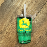 Distressed John Deere Tumbler