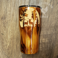 Deer Scene Carved Style Wood Grain Tumbler