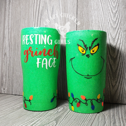Resting Grinch Face Glitter Tumbler