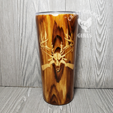 Deer Skull Carved Wood Grain Tumbler