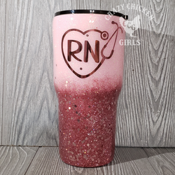 Stethoscope Heart Chunky Mix Ombre Glitter Tumbler