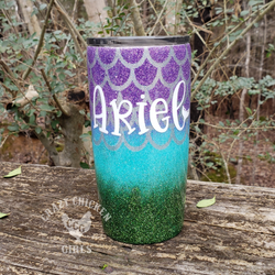 Mermaid with Inlay Scales Glitter Tumbler