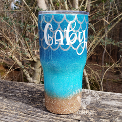 Beach Mermaid with Inlay Scales Glitter Tumbler