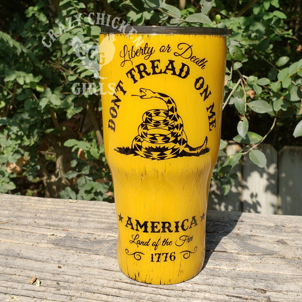 Gadsden Flag Tumbler Hand Painted