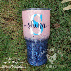 Initial & Name Ombre Glitter Tumbler