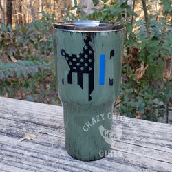 Sheriff's Star Thin Blue Line Distressed Tumbler