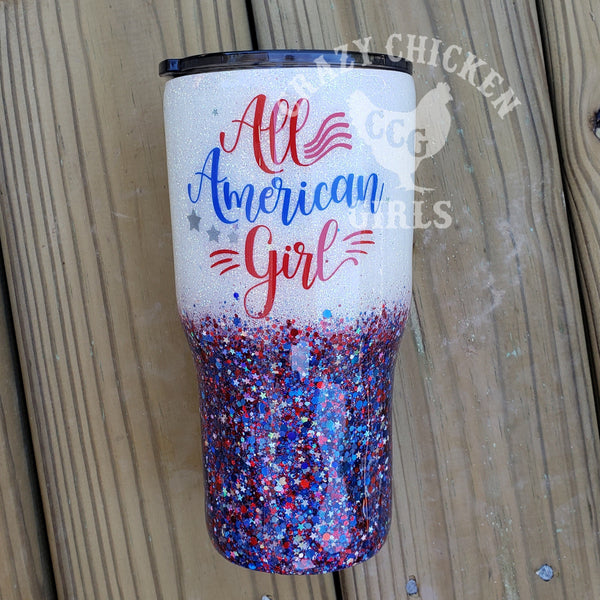All American Girl Patriotic Glitter Tumbler