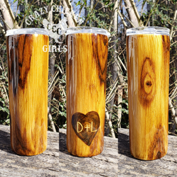 Carved Heart Wood Grain Tumbler