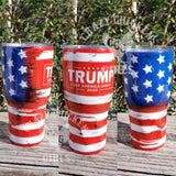 Trump Flag Tumbler Hand Painted