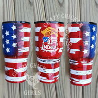 Trump Eagle Flag Tumbler Hand Painted