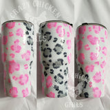 Pink and White Leopard Glitter Tumbler