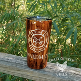 Fire Department Wood Grain Tumbler