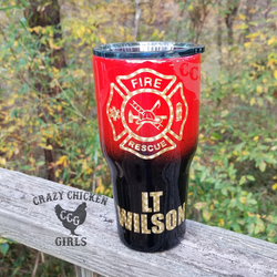 Fire Department Tumbler Hand Painted