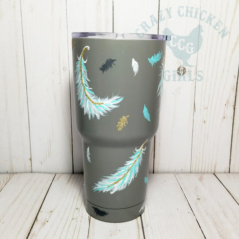 Hand Painted Feathers Tumbler