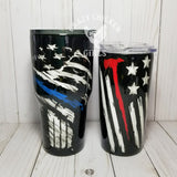 Police or Fire Hand Painted Tumbler