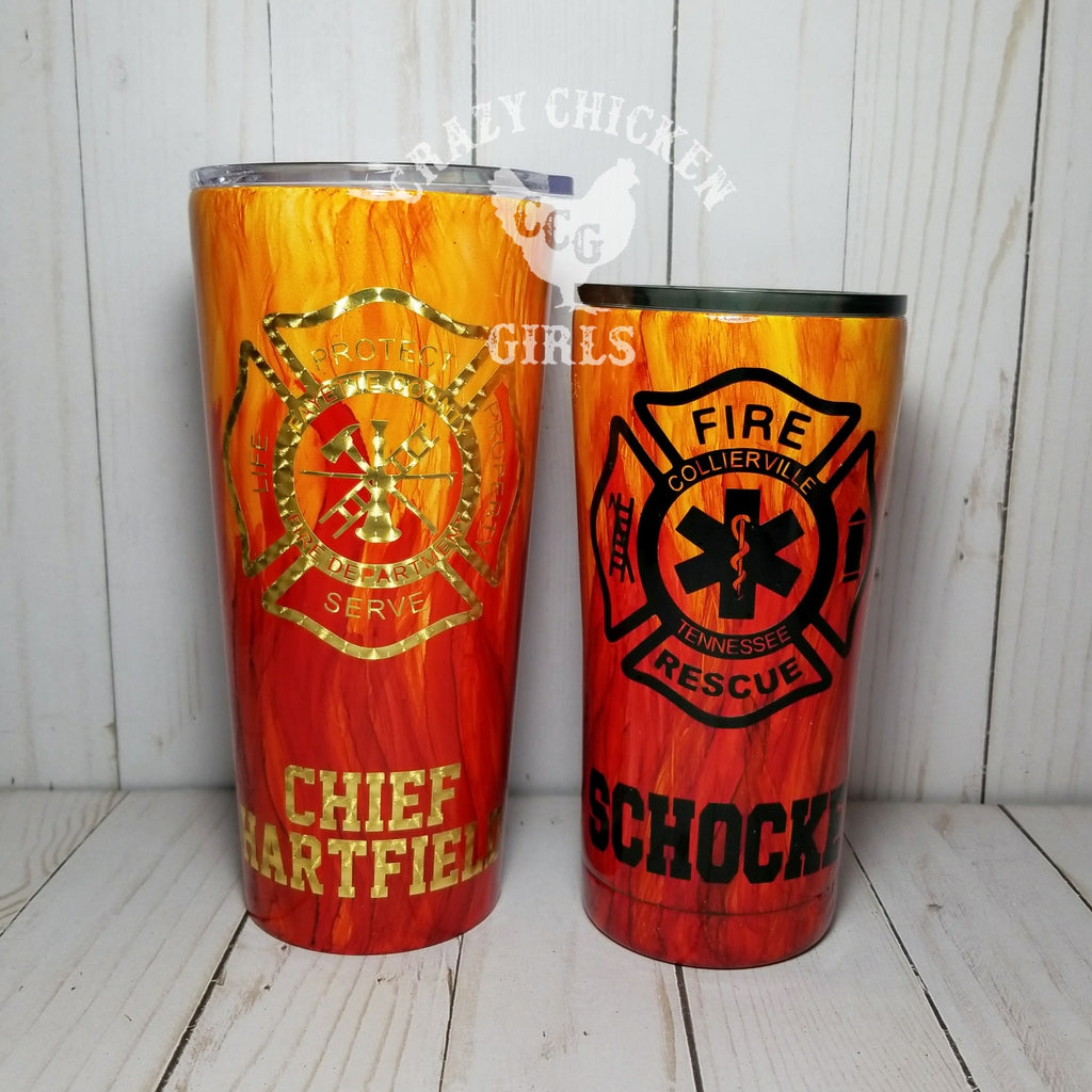 Firefighter Flame Hand Painted Tumbler Crazy Chicken Girls