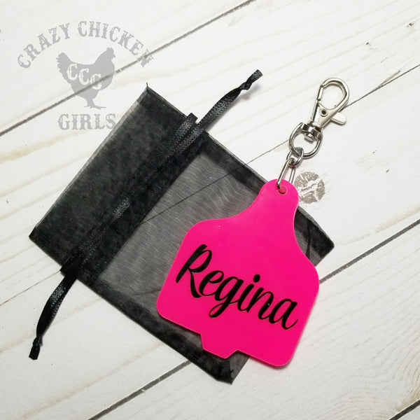 Custom Cow Ear Tag Key Chain
