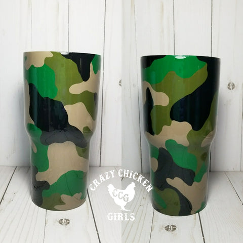 Hand Painted Camo Tumbler