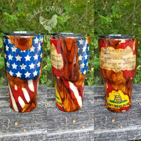 Second Amendment Tumbler Hand Painted - Limited Edition
