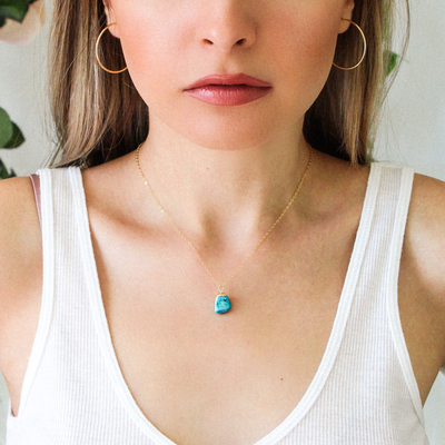 Turquoise Raw Birthstone Dainty Necklace - Opalini Jewelry