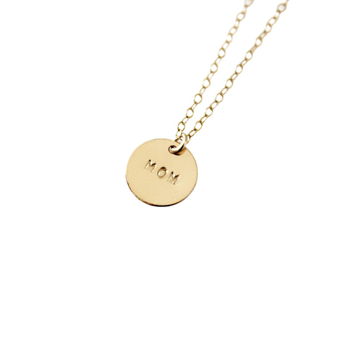 MOM 14k Gold Filled Disc Dainty Necklace - Opalini Jewelry