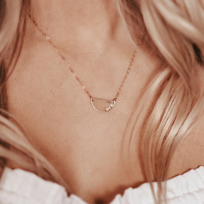 Personalized Name Necklace, 14k Gold Filled Half Moon Dainty Necklace - Opalini Jewelry