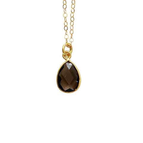 14k Gold Filled Smokey Quartz Teardrop Stone Dainty Necklace - Opalini Jewelry