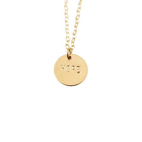 14k Gold Filled Hope Dainty Necklace, Hand Stamped Necklace - Opalini Jewelry