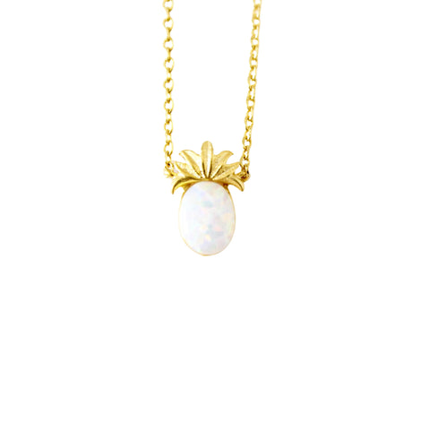 Gold Opal Pineapple Dainty Necklace - Opalini Jewelry