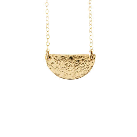 14k Gold Filled Hammered Half Moon Dainty Necklace - Opalini Jewelry