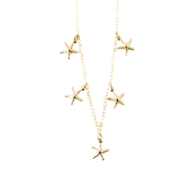 14k Gold Filled 5 Tiny Starfishes Dainty Necklace - Opalini Jewelry