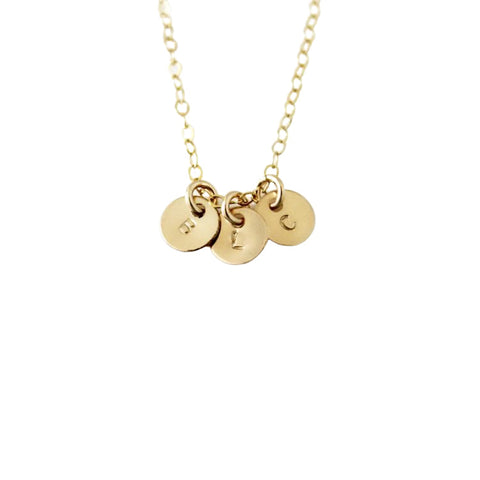 Personalized Initials Necklace, 3 Tiny 14k Gold Filled Discs Dainty Necklace - Opalini Jewelry