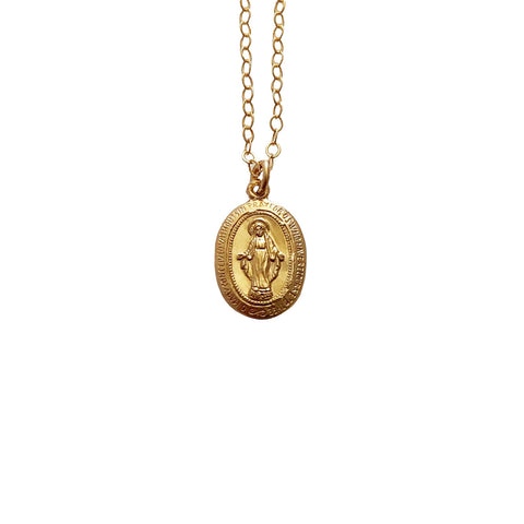 14k Gold Filled Virgin Mary Dainty Necklace - Opalini Jewelry