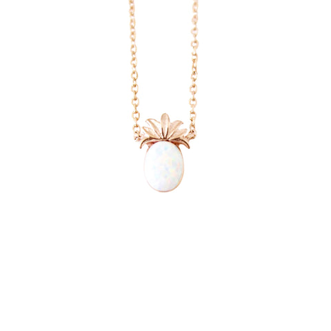 Rose Gold Opal Pineapple Dainty Necklace - Opalini Jewelry